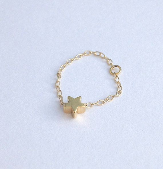 chain ring,gold ring , star ring, gold filled chain, tiny pendant, dainty gold ring, thin ring, any size, gold star-403