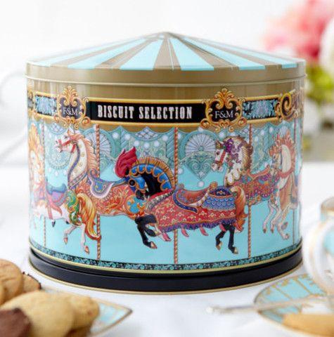 F&Mフォートナム&メイソンメリーゴーランドオルゴール缶入(焼き菓子入り)