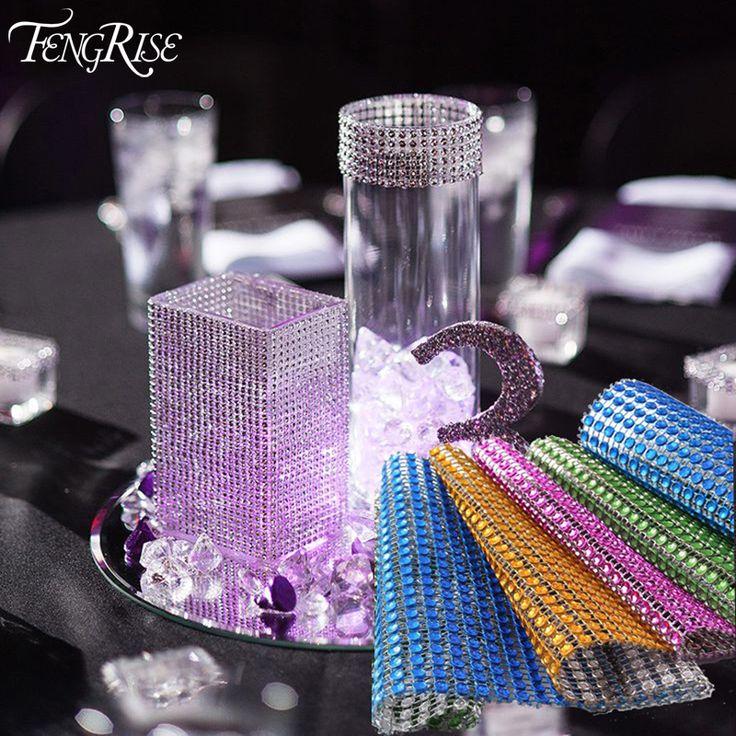 FENGRISE 91.5cm 1 lot Rhinestone Chain Diamond Mesh Trim Wedding Decoration Bling Wrap Party Ribbon DIY Crafts For Vase Supplies ** Nazhmite na izobrazheniye dlya boleye podrobnoy informatsii.