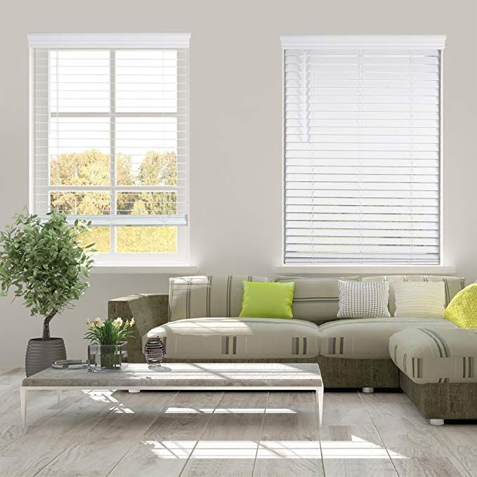 Arlo Blinds White Cordless 2 Inch Faux Wood Horizontal Blind Size 33 5 W X 60 H Cordless Lift And Wand Til Horizontal Blinds Faux Wood Blinds Wood Blinds