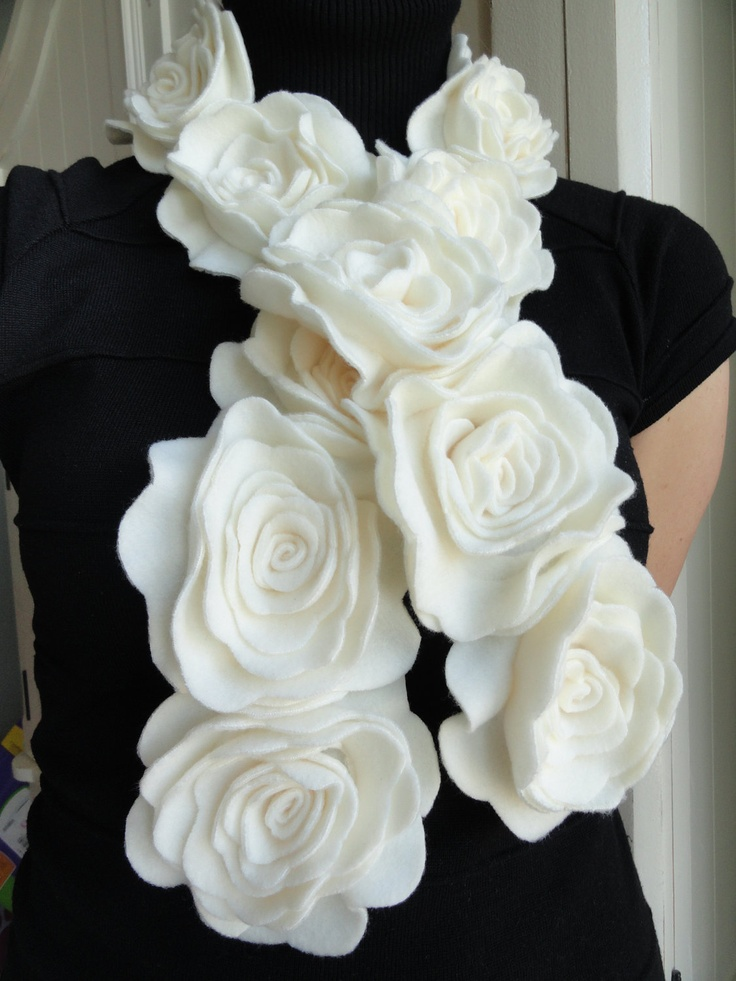 Fleece Flower Scarf by happy4ever on Etsy