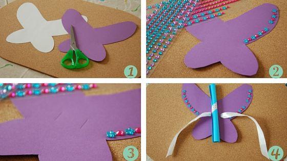 Hier findet Ihr eine Anleitung zu einer Einladung zum Kindergeburtstag. Ein Schmetterling!