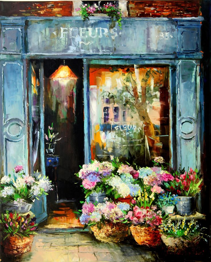 Flowers shop 80x65 oil on canvas 2016