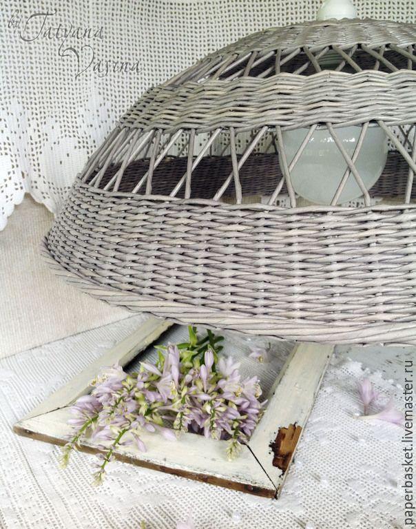 """Купить Плетеный абажур """"Дождливый день"""" - серый, винтаж, деревенский стиль, кантри, кантри стиль"""
