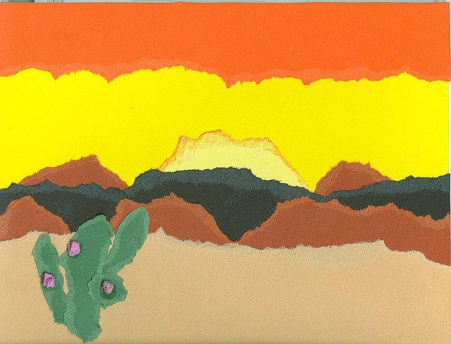 Desert Landscape with torn construction paper.