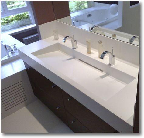 Plan vasque corian double crea diffusion sp cialiste - Specialiste salle de bain toulouse ...