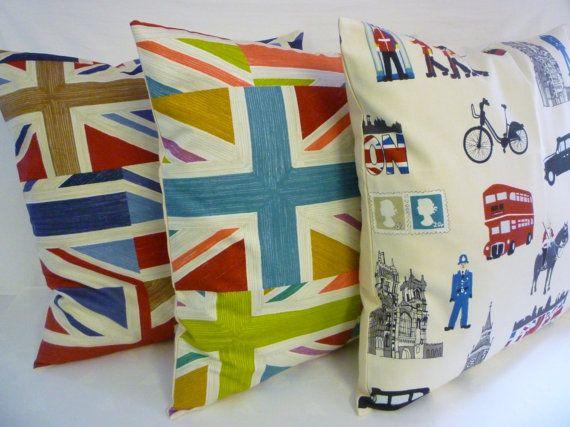 "22"" Funky Retro London Union Jack Designer Cotton Cushion Cover's. Pillowcases Shams Slips"
