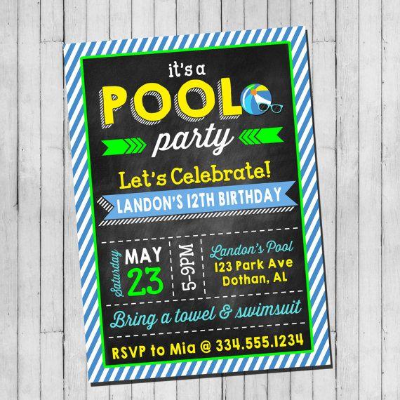 Pool Party Birthday Invitation Boy Teen Pool by LaLoopsieInvites