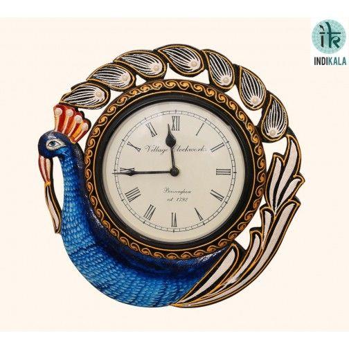 Peacock clock At www.indikala.com