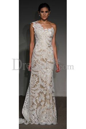 Luxurious Lace and Satin Bridal Attire One Shoulder Neckline