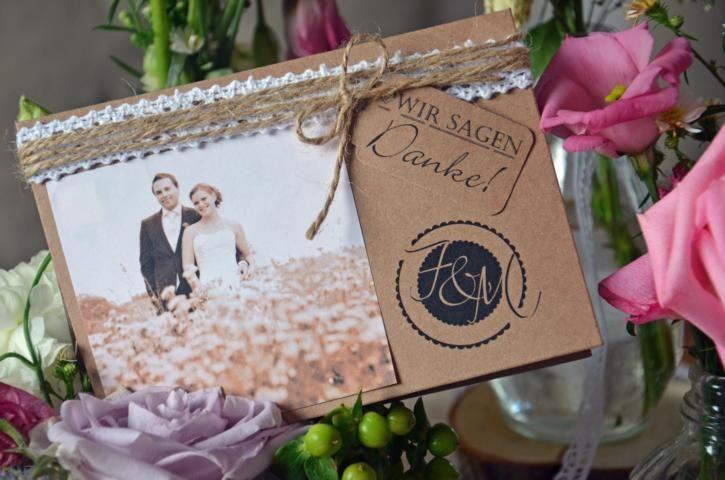 Danksagungskarte+Hochzeit+Vintage+inkl+Druck+Kraft+von+Majalino+auf+DaWanda.com