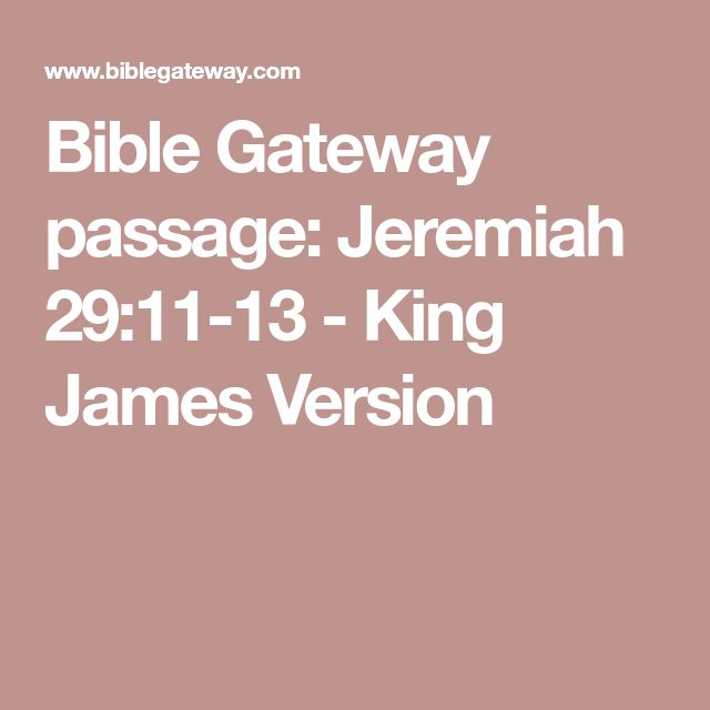 Bible Gateway passage: Jeremiah 29:11-13 - King James Version