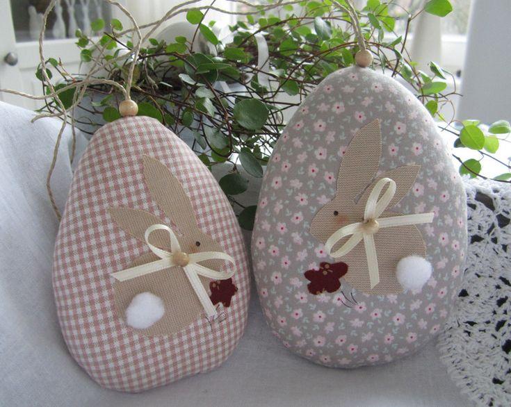 Süsse Ostereier mit Osterhase im Landhaus- Stil von Feinerlei auf DaWanda.com