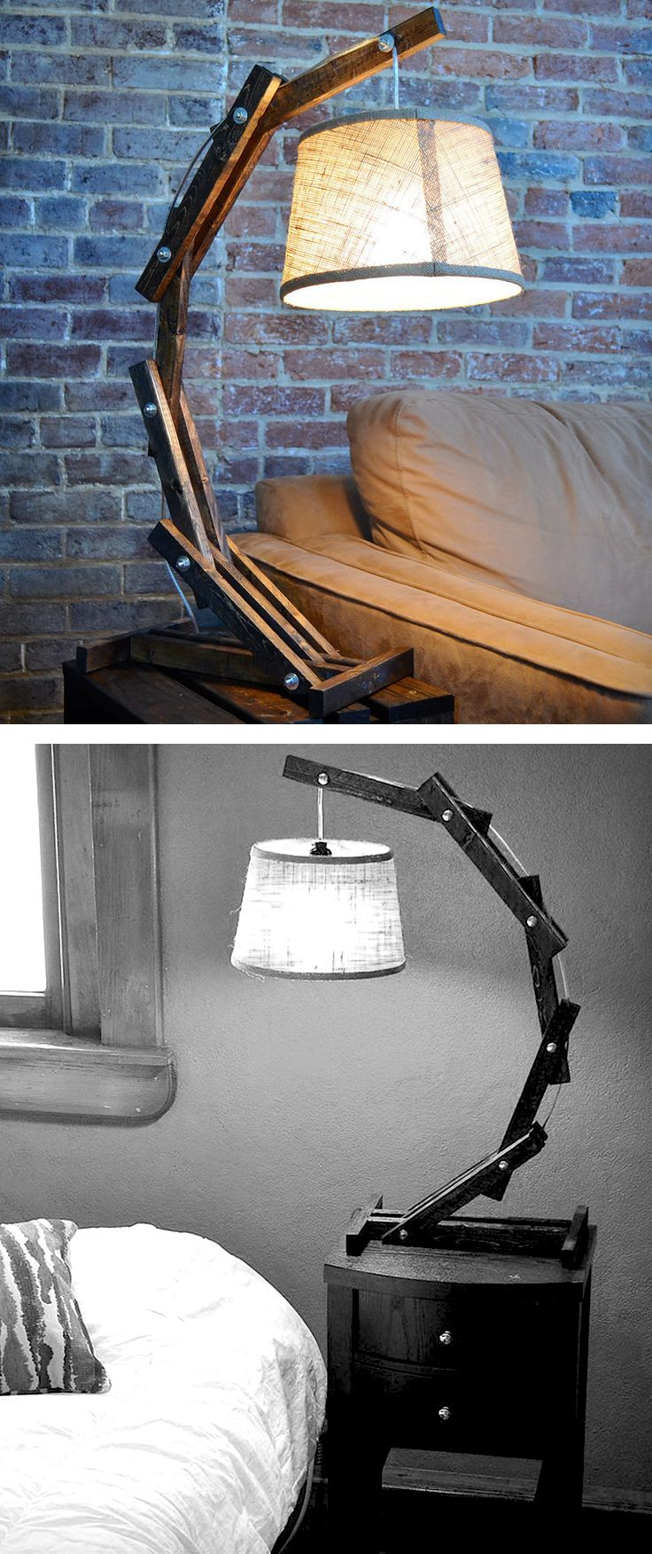 Rustic Wooden Cantilever Table Lamp