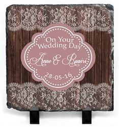 Beautiful bespoke  Wedding Gift. Slate with lace and wood design, detailed with the Wedding date and names of Bride and Groom! WowWee.ie - €39.99