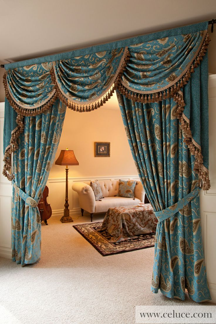 Go gold curtains and valances - This Ready Made Swags Tails Curtain Set Comes In Blue Chenille Embroidered With Gold Paisley Patterns More Elegant Yet More Affordable Than Designer Custom