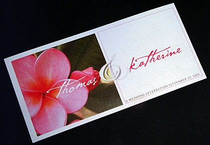 Summer wedding invitations. These invitation cards feature an image of a pink frangipani. www.kardella.com