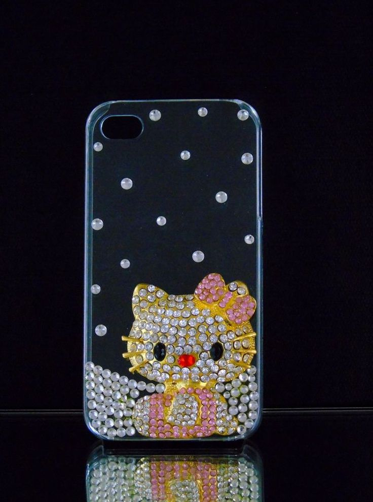 Hello Kitty Bejeweled Clear iPhone 4/4s Case New Pink Silver Gold Rhinestones   #UnbrandedGeneric