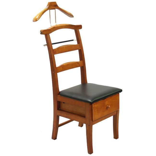 Mens Dressing Chair Butler Valet Stand Executive Hanger Suit Shoe Storage  Wooden