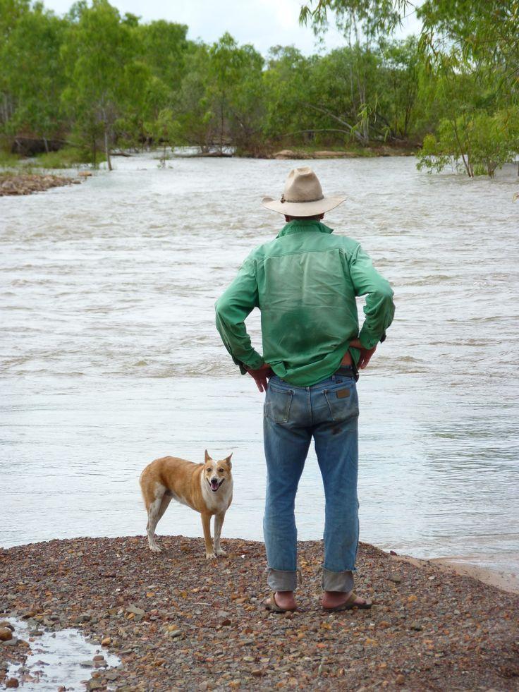 Roderick Woodland:  Gun rider, legendary bushman, considering how best to cross during the Wet....