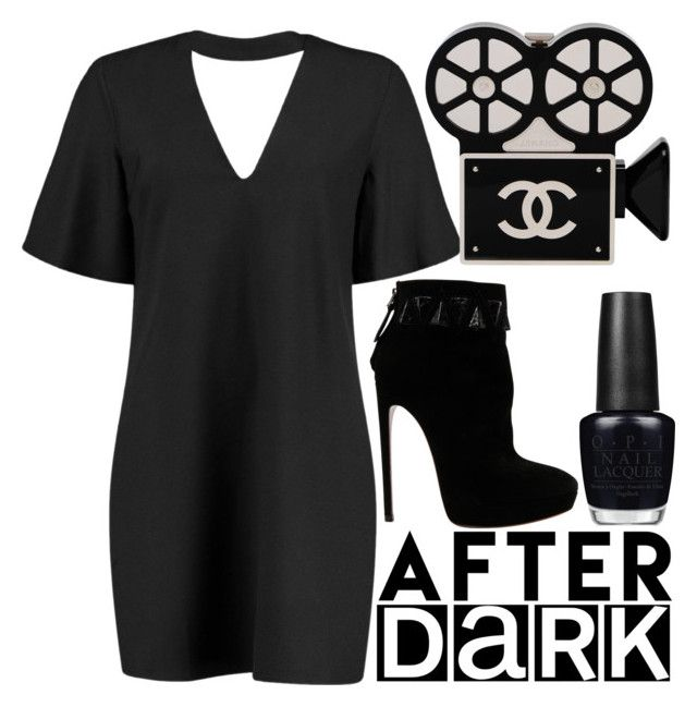 """girls night out: after dark"" by j-n-a ❤ liked on Polyvore featuring Boohoo, Alaïa, OPI, Chanel, girlsnightout and afterdark"