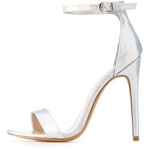 Charlotte Russe Holographic Two-Piece Sandals ($29) ❤ liked on Polyvore featuring shoes, sandals, silver, strap sandals, summer sandals, summer shoes, cushioned sandals and strap heel sandals