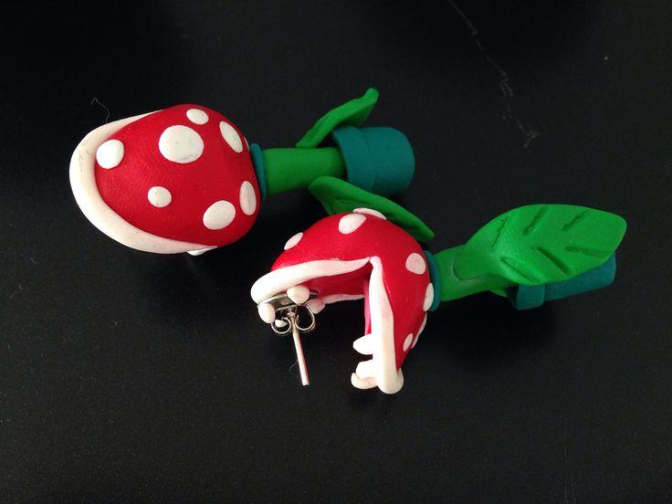 Super Mario ildblomster Øreringe lavet af fimoler.