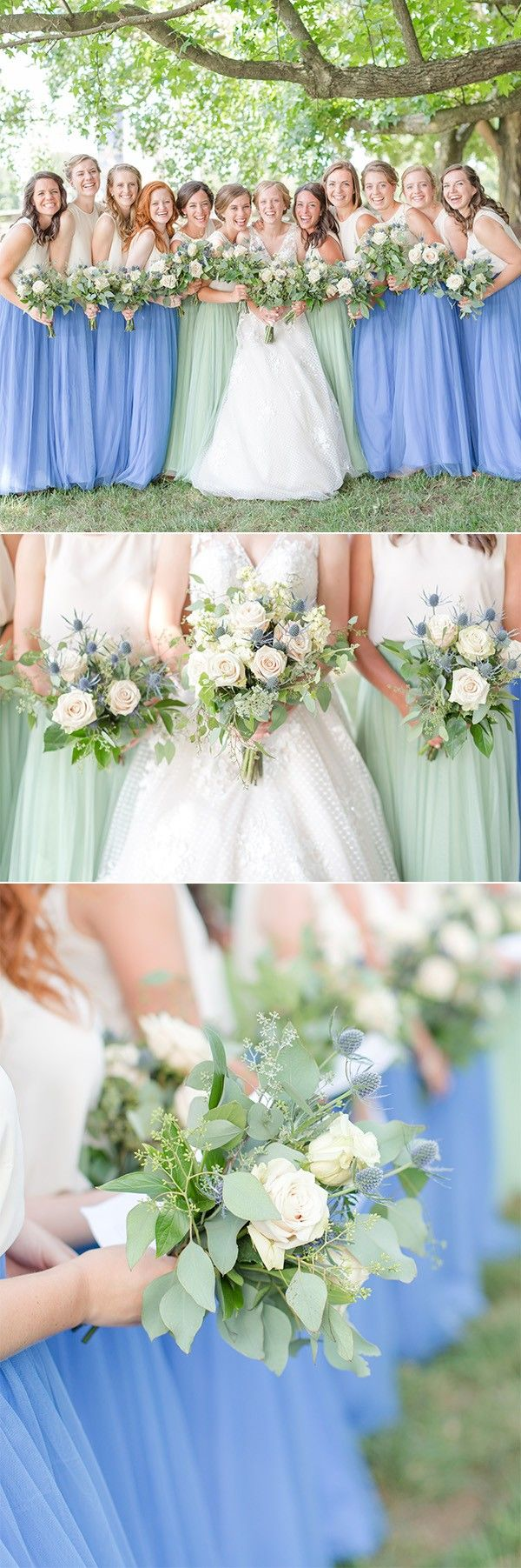 blue and green mismatched bridesmaid dresses