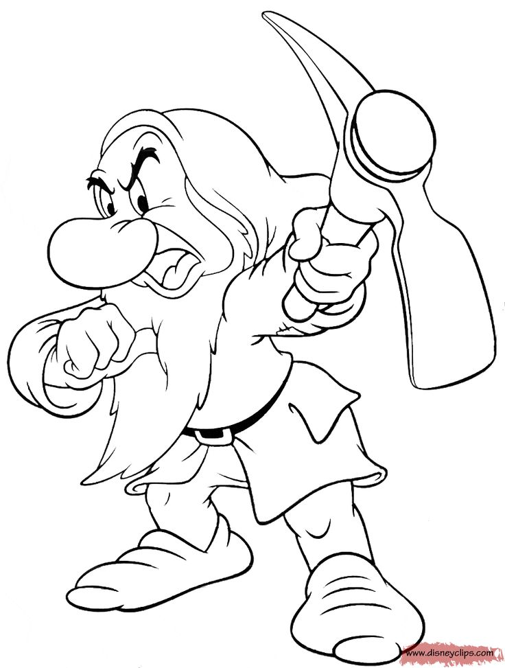 Grumpy coloring and the seven dwarfs printable coloring for Coloring pages for snow white and the seven dwarfs