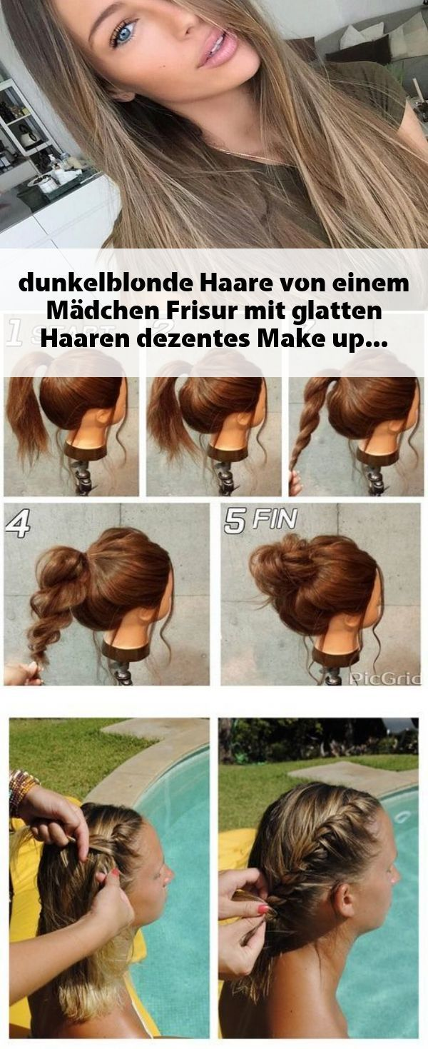 dunkelblonde Haare von einem Mädchen, Frisur mit glatten Haaren
