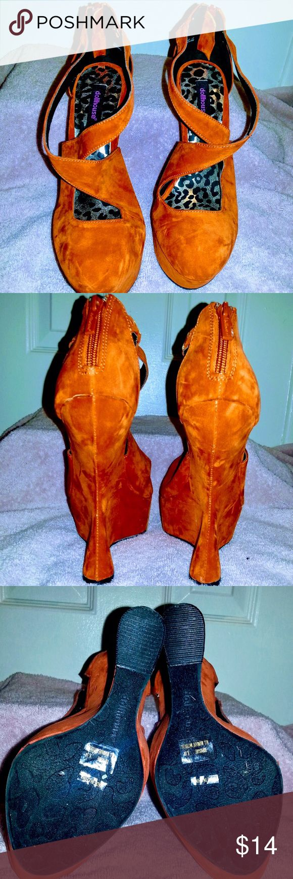 """Cute Sz 8.5 Dollhouse """"Exposure"""" wedge orange New! Give a toast to wonderful style in the Dollhouse """"Exposure"""" wedge pumps. The upper fabric gets a chic but comfortable lift from the wedge heel. Features peep toe strappy faux suede top and wedge heel. The man made sole provides enhanced comfort and grip you can rely on.  Color: orange Width: Medium Style: Platform Material: Faux suede upper and man-made outsole Toe shape: Round Heel height/type: 6-inches Dollhouse Shoes Wedges"""