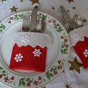 What a great idea for Christmas Dinner. #26. Down the Chimney Silverware Pockets: Crafts Ideas, Great Ideas
