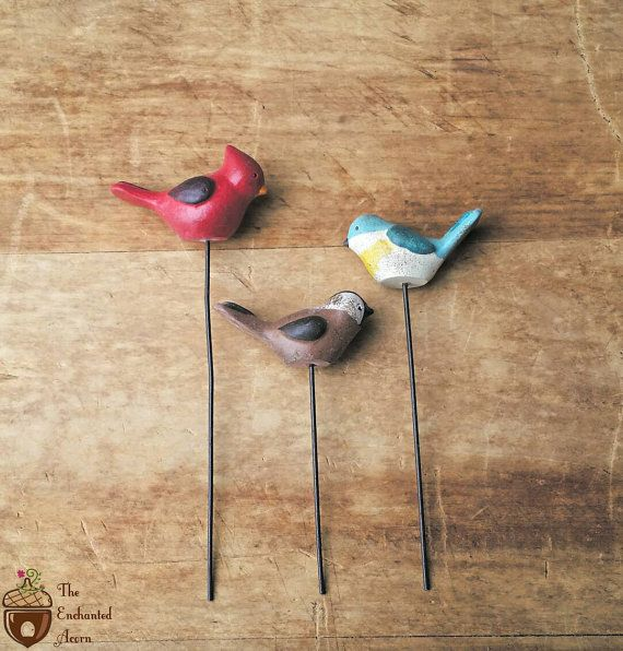 Set of 3 Fairy Garden Birds – Miniature Birds Fairy Garden Accessories Fairy Birds Miniature Cardinal Miniature Bluejay Little Sparrow – Craft Ideas:  Paperclay, Spun Cotton, Scrap