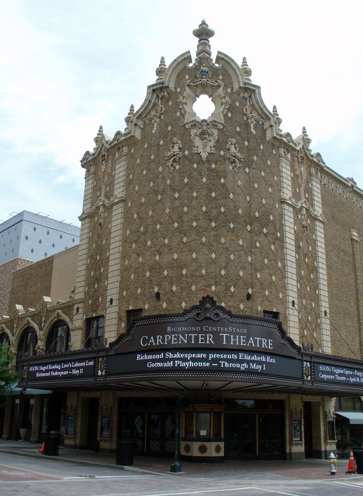 Entry Point: The Carpenter Theater for the Performing Arts is located in downtown Richmond, Virginia. The point of entry to the theater is very distinct.  The awning draws people in from the outside and the roundness of it make it more appealing and inviting.