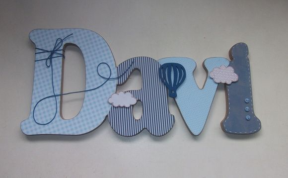 Nome em MDF, decorado em papel de scrap.    Pode ser utilizado para decorar quarto, porta de maternidade e festa infantil.    Fazemos no tema e nas cores desejadas