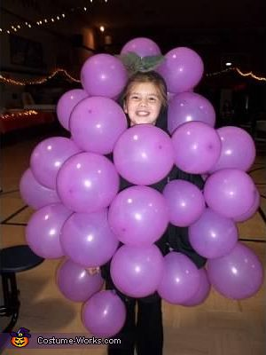 Garbage bag with purple balloons attached!!!