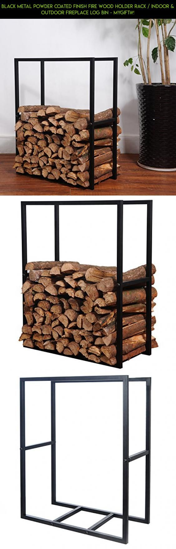 Black Metal Powder Coated Finish Fire Wood Holder Rack / Indoor & Outdoor Fireplace Log Bin - MyGift® #drone #technology #bins #fpv #camera #with #storage #products #kit #plans #racing #tech #rack #shopping #gadgets #parts