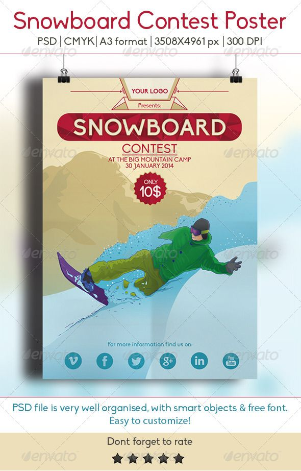 Snowboard Contest A3 Poster