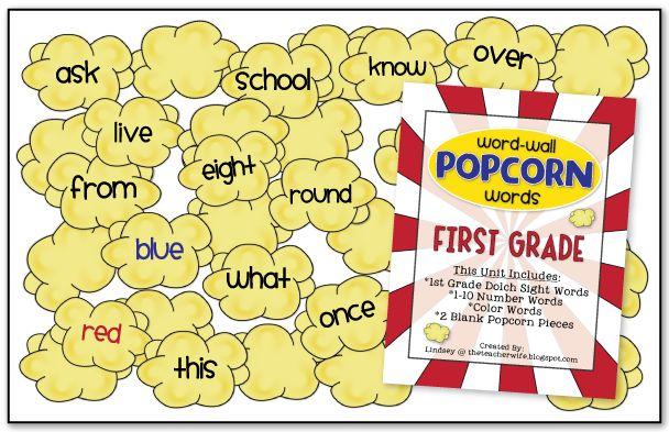 First Grade Popcorn WordsSight Words, Popcorn Words, Kindergarten Teachers, Cute Ideas, Words Wall, Wall Words, Word Walls, Classroom Ideas, First Grade