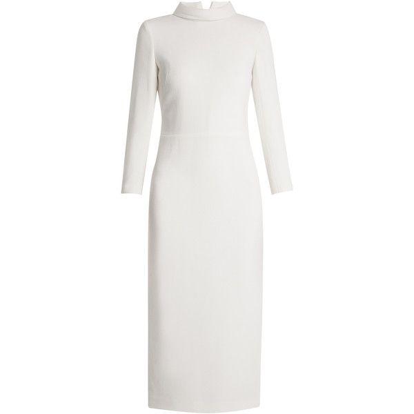 Carl Kapp Berlin wool-crepe dress ($1,729) ❤ liked on Polyvore featuring dresses, white, crepe fabric dress, crepe dress, woolen dress, white high neck dress and wool crepe dress