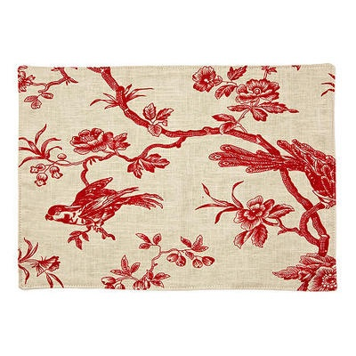 S/4 Bird Toile Place Mats, Red by One Kings Lane $59 #Olioboard #Product #Sales