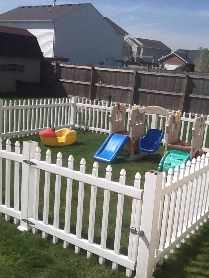 Big Backyard Daycare : Our new play area , fence within a fence The toddlers play in here to