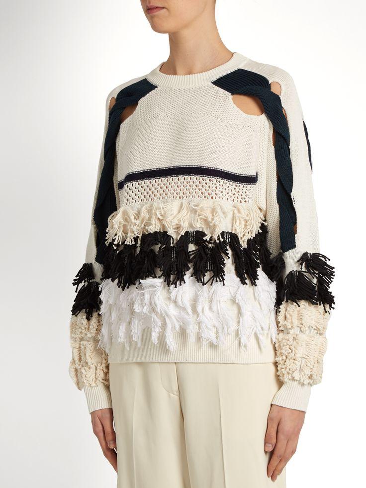 Fringed cotton-blend sweater | Toga | MATCHESFASHION.COM UK