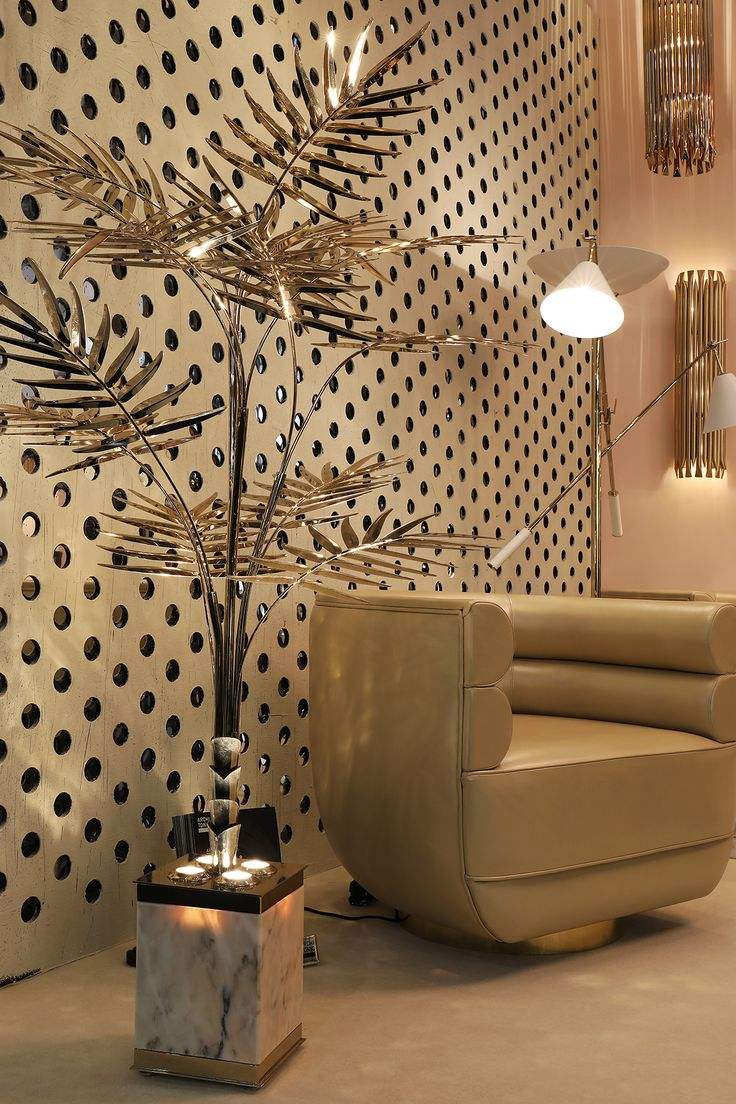 Maison et Objet Paris 2017 | Midcentury living room ideas with lighting brass decor and upholstered swivel lounge chairs @essentialhomeeu  | More at https://www.brabbu.com/en/partners-products.php
