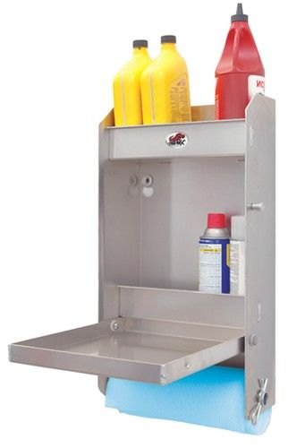 "Tow-Rax Aluminum Storage Cabinet w/ Folding Tray - 23"" Tall x 12"" Wide - Machined Finish Tow-Rax Enclosed Trailer Parts TWSPJCA"