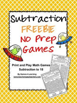 FREEBIE - Subtraction Freebie NO PREP Games by Games 4 Learning - This set is 2 Subtraction Games that review subtraction skills subtracting within 18.