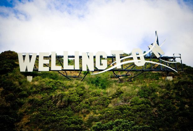 The 'blown away' Wellington sign in Miramar. (Photo courtesy of Wellington on a plate)