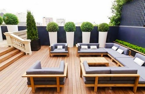 Gorgeous Home Roof Terrace with Wood Deck Design Ideas and Set of Chair Table Furniture