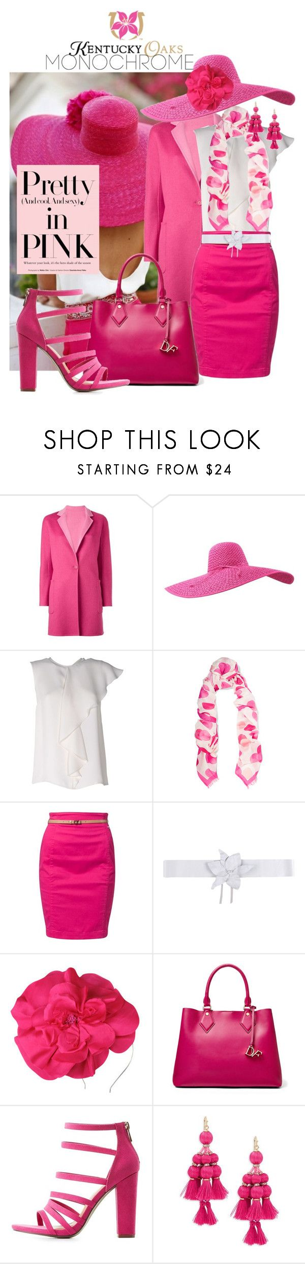 """""""So pretty in pink.. Kentucky Oaks"""" by mia-christine ❤ liked on Polyvore featuring MaxMara, STELLA McCARTNEY, Calvin Klein Jeans, Space Style Concept, Morgan & Taylor, Diane Von Furstenberg, Bamboo, Kate Spade and monochromepink"""