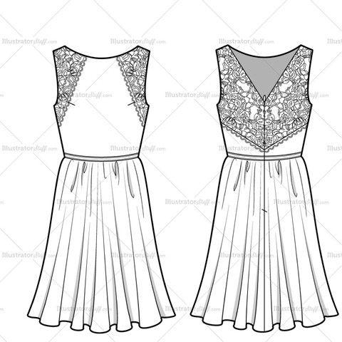 Women's Lace Dress Fashion Flat Template